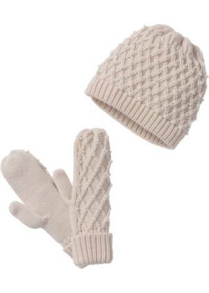 Комплект: шапочка и перчатки (телесный) bonprix. Цвет: телесный