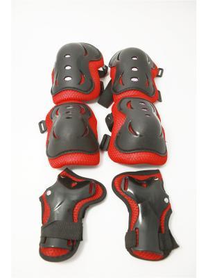Набор защиты однотонный (колени, локти, запястья), размер L, пластик SilaPro. Цвет: черный