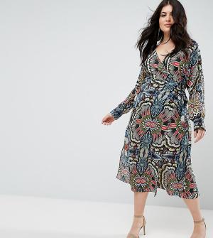 Uttam Boutique Plus Платье с принтом и запахом. Цвет: мульти