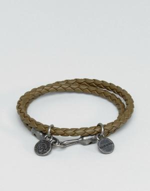 Diesel Оливковый кожаный браслет A-Lucy. Цвет: зеленый