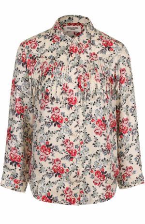 Шелковая блуза с цветочным принтом и бахромой Zadig&Voltaire. Цвет: разноцветный