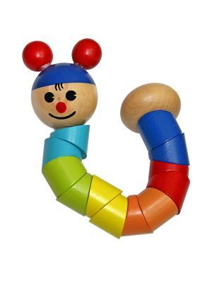 Деревянная игрушка Гусеница Фабрика Фантазий. Цвет: желтый, красный, синий