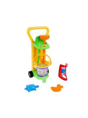 Набор для песка с  тележкой 8 эл. ТИГРЕС. Цвет: желтый, синий, зеленый, красный, оранжевый