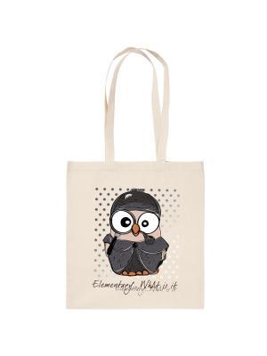 Холщовая сумка с совой Шерлок Холмс Goofi. Цвет: бежевый