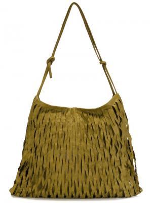 Большая сумка через плечо с бахромой Ma+. Цвет: зелёный