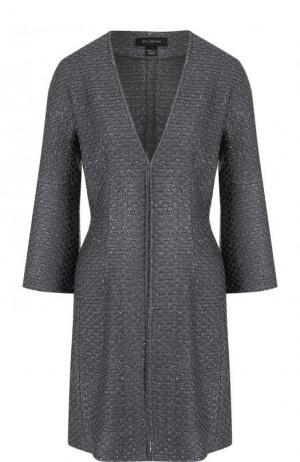 Приталенное пальто с укороченным рукавом St. John. Цвет: темно-серый