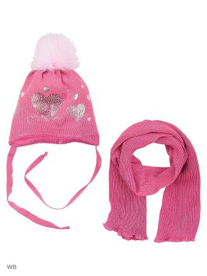 Комплект шапка и шарф Agbo. Цвет: розовый