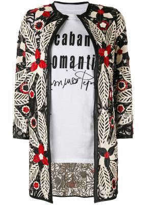 Пиджак с цветочной вышивкой Caban Romantic. Цвет: чёрный