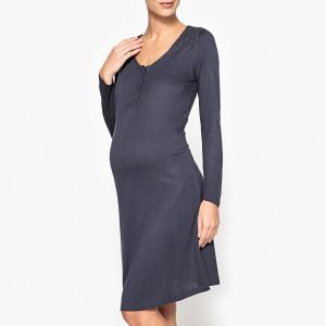 Сорочка ночная для периода беременности и грудного вскарливания La Redoute Collections. Цвет: синий чернильный