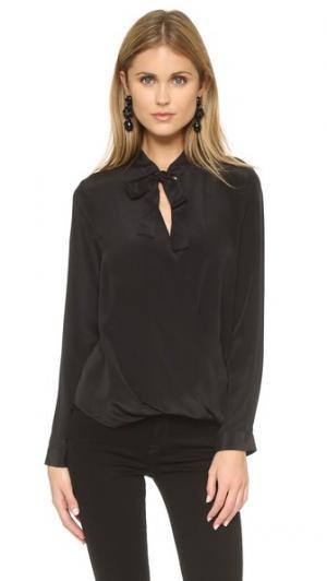 Фирменная блуза с длинными рукавами и завязками And B. Цвет: голубой