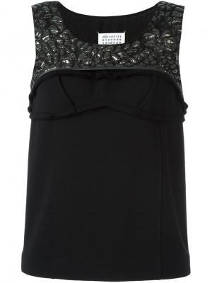 Текстурированная блузка без рукавов Maison Margiela. Цвет: чёрный