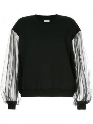 Блузка с прозрачными рукавами Cityshop. Цвет: чёрный