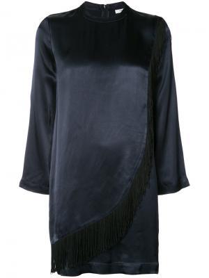 Мини-платье с длинными рукавами Ganni. Цвет: синий