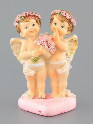 Фигурка Ангелочки на сердце Elan Gallery. Цвет: бежевый, розовый