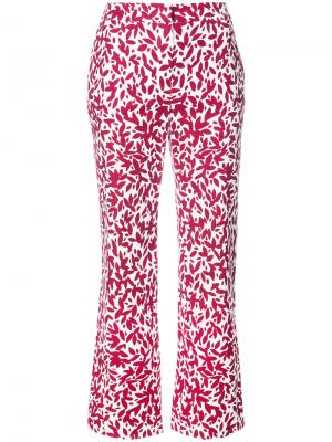 Укороченные брюки с принтом Oscar de la Renta. Цвет: белый