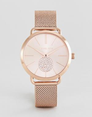 Michael Kors Розово-золотистые часы 37 мм с сетчатым браслетом MK3845. Цвет: золотой