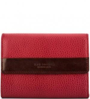 Бордовый кожаный кошелек с откидным клапаном The Bridge. Цвет: бордовый