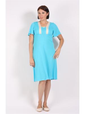Ночная сорочка COTTONLAB. Цвет: бирюзовый