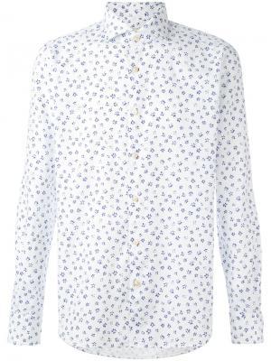 Рубашка с темно-синим цветочным узором Xacus. Цвет: белый