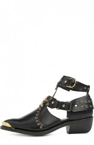 Кожаные ботинки с люверсами и заклепками Balmain. Цвет: черный