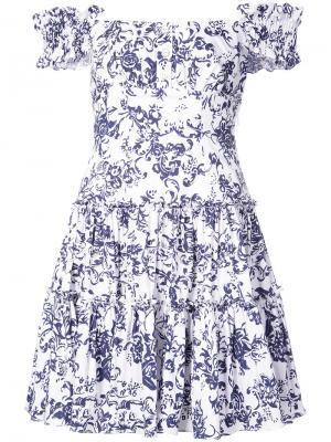 Платье с цветочным принтом Caroline Constas. Цвет: белый