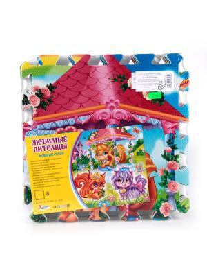Коврик-пазл Играем вместе Любимые питомцы 8 сегментов, каждый 31.5*31.5 см.. Цвет: оранжевый, розовый, фиолетовый