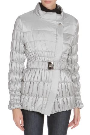 Полуприлегающее пальто с ремнем Cinzia Rocca. Цвет: серебристо-серый