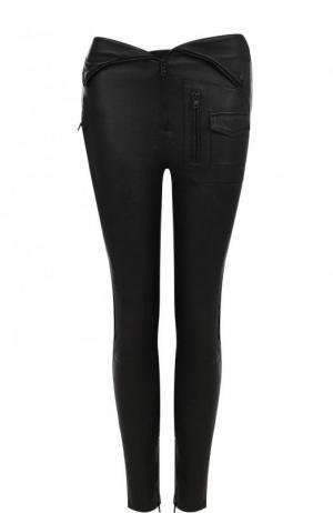 Однотонные кожаные брюки-скинни RTA. Цвет: черный