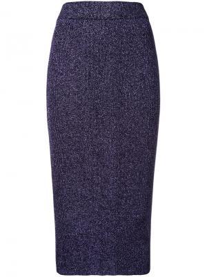 Трикотажная юбка с блестящей отделкой G.V.G.V.. Цвет: розовый и фиолетовый
