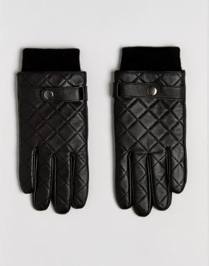 ASOS Черные кожаные перчатки со стеганой отделкой. Цвет: черный