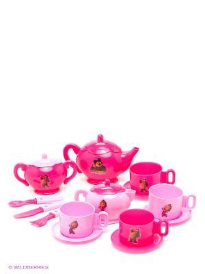 Набор посуды Чайный сервиз Маша и медведь. Цвет: розовый