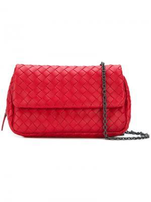 Сумка с эффектом плетения на цепочной лямке Bottega Veneta. Цвет: красный