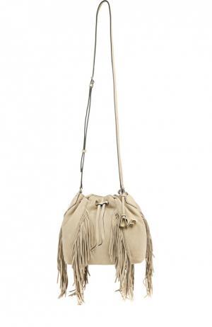 Замшевая сумка Voyage с бахромой Diane Von Furstenberg. Цвет: бежевый