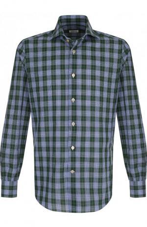 Хлопковая рубашка с воротником кент Kiton. Цвет: зеленый
