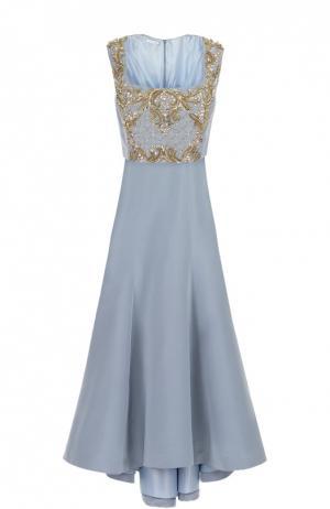 Шелковое платье в пол с контрастной вышивкой бисером и кристаллами Oscar de la Renta. Цвет: голубой