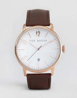 Ted Baker Классические часы с кожаным ремешком и корпусом цвета розового золота. Цвет: коричневый