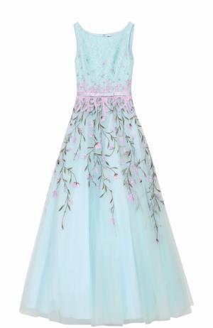 Приталенное платье-макси с вышивкой Basix Black Label. Цвет: светло-голубой