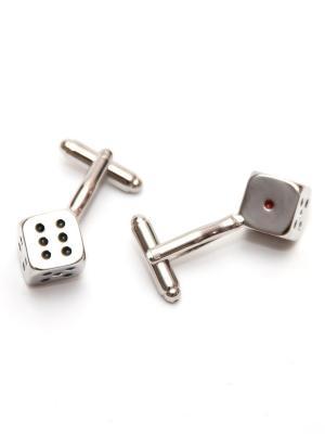 Запонки кости - кубики Churchill accessories. Цвет: серебристый