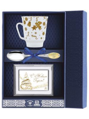 Набор чайный Майская - Веселый праздник (чашка+ложка+рамка для фото)+футляр АргентА. Цвет: серебристый