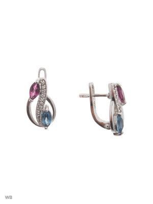 Серьги МАРКАЗИТ. Цвет: серебристый, розовый, синий