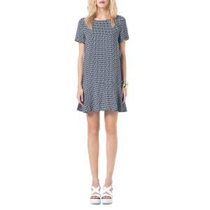 Платье расклешенного покроя с короткими рукавами BEST MOUNTAIN. Цвет: темно-синий