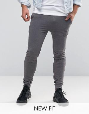 ASOS Темно-серые меланжевые суперузкие джоггеры. Цвет: серый