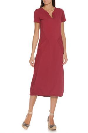 Длинное платье с короткими рукавами EUROPEAN CULTURE. Цвет: бордовый