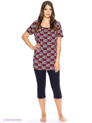 Комплект домашней одежды HomeLike. Цвет: красный, темно-синий