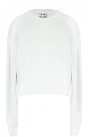Хлопковый пуловер с круглым вырезом Acne Studios. Цвет: белый