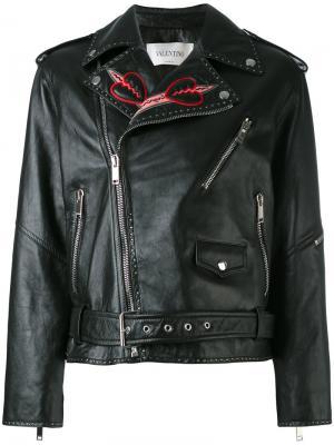 Декорированная куртка Love Blade Valentino. Цвет: чёрный