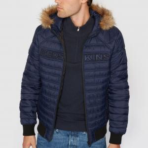 Стеганая куртка с капюшоном REDSKINS. Цвет: темно-синий