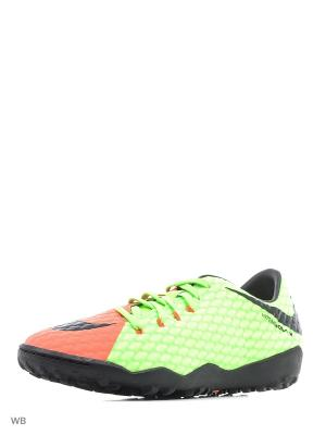 Бутсы Nike Hypervenom Phelon III (TF). Цвет: зеленый, оранжевый