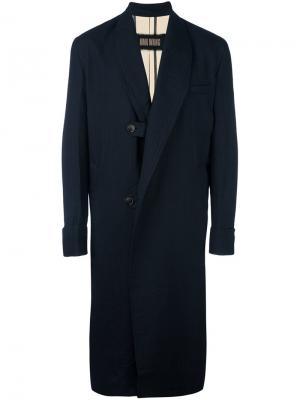 Пальто в тонкую полоску Uma Wang. Цвет: синий