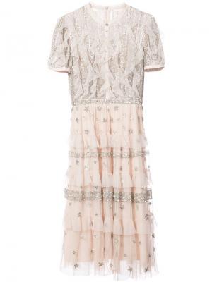 Sequin embroidered ruffled dress Needle & Thread. Цвет: розовый и фиолетовый